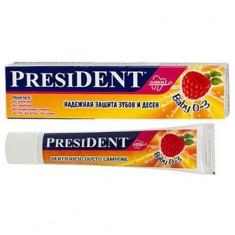 Президент Baby зубная паста для малышей 0-3лет Малина без фтора 30мл N1 туба President