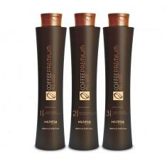 HONMA TOKYO Набор для выпрямления сильно вьющихся, кудрявых волос (шампунь 500 мл, кератин 500 мл, маска 500 мл) Coffee Premium All Liss