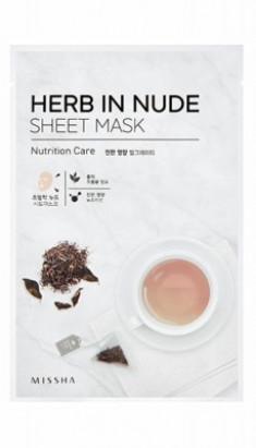 Маска тканевая Черный чай MISSHA Herb In Nude Sheet Mask Nutrition Care